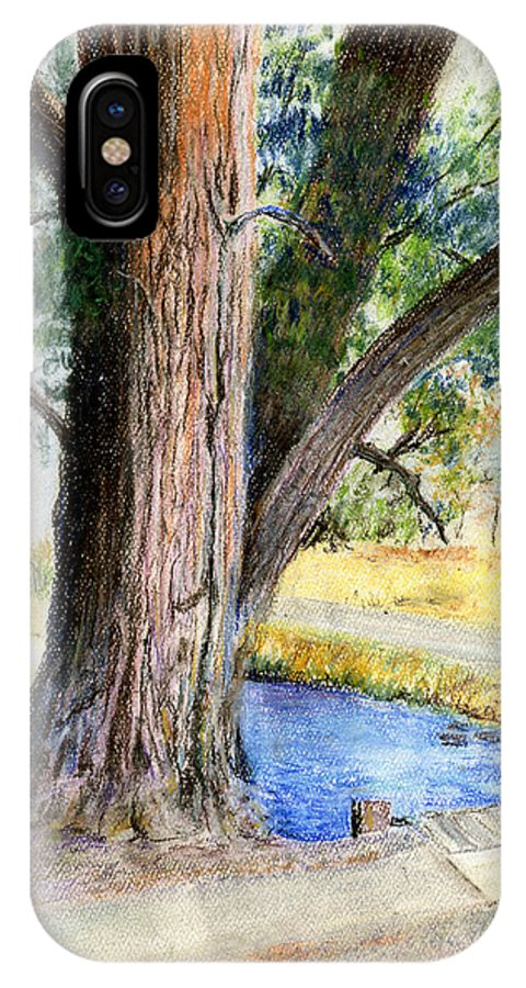Tree IPhone X Case featuring the pastel The Old Tree by Arline Wagner