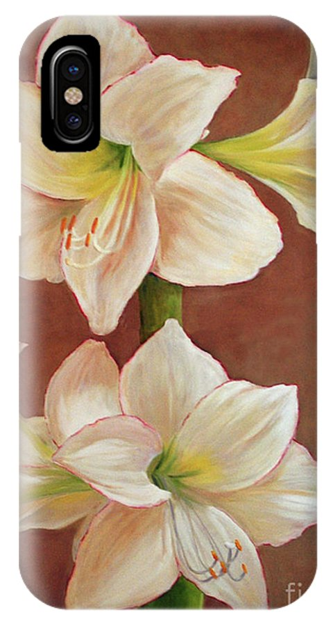 Flower IPhone X Case featuring the painting The Opening Flower by Carolyn Shireman