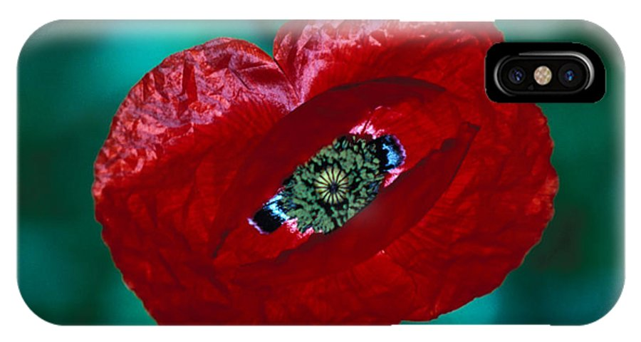 Bright; Red; Green; Brilliant; Flower; Flora; Close-up; Eye; Nature; Opium; Sleep; Death; Hypnotic; Magic; Wizard; Dorothy; France IPhone X Case featuring the photograph The Opiate Of Desire by Carl Purcell