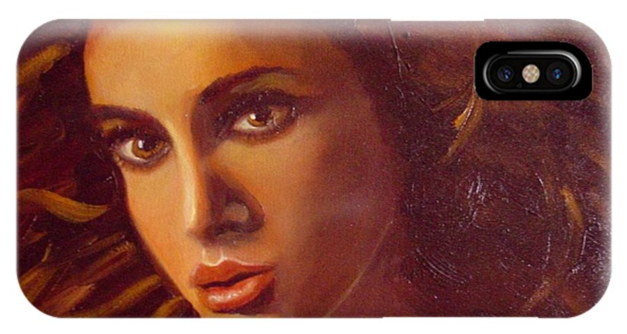 Portrait IPhone X Case featuring the painting The Oracle by Laurie Morgan