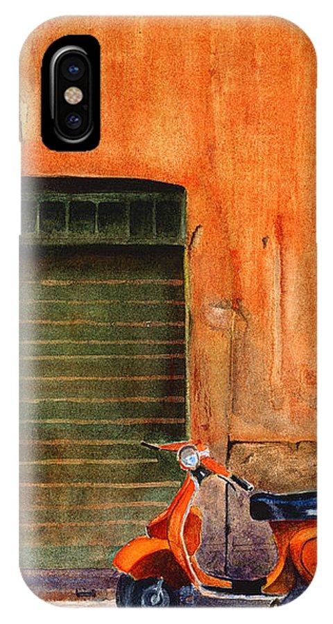 Vespa IPhone Case featuring the painting The Orange Vespa by Karen Fleschler