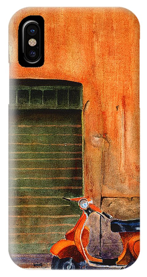 Vespa IPhone X Case featuring the painting The Orange Vespa by Karen Fleschler
