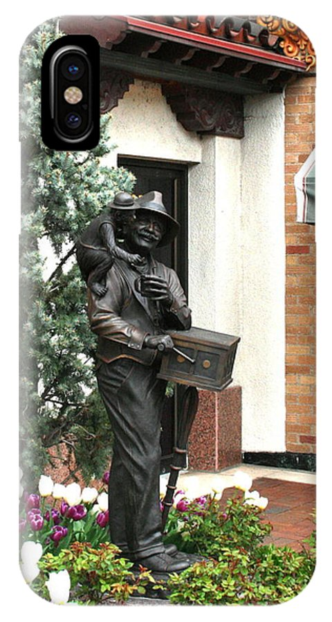 Statue IPhone X / XS Case featuring the photograph The Organ Grinder Kansas City Missouri by David Dunham