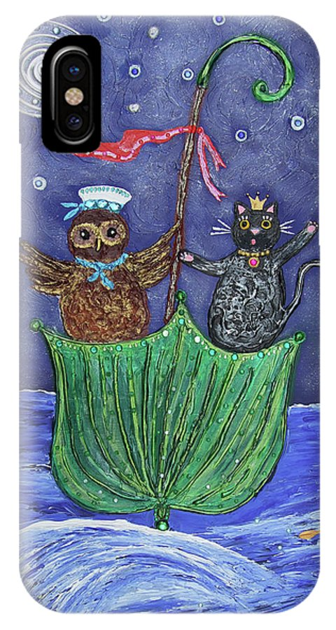 Owl IPhone X / XS Case featuring the painting The Owl And The Pussycat by Pietra Castellani