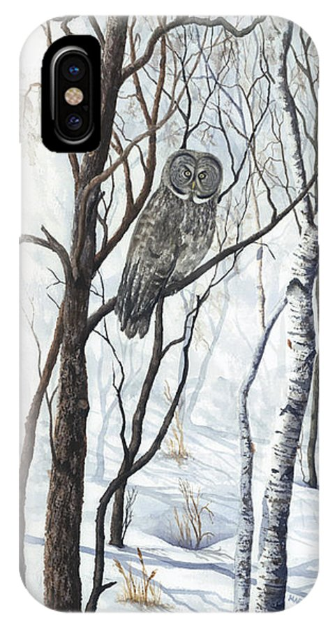 Owl IPhone X Case featuring the painting The Owl by Mary Tuomi