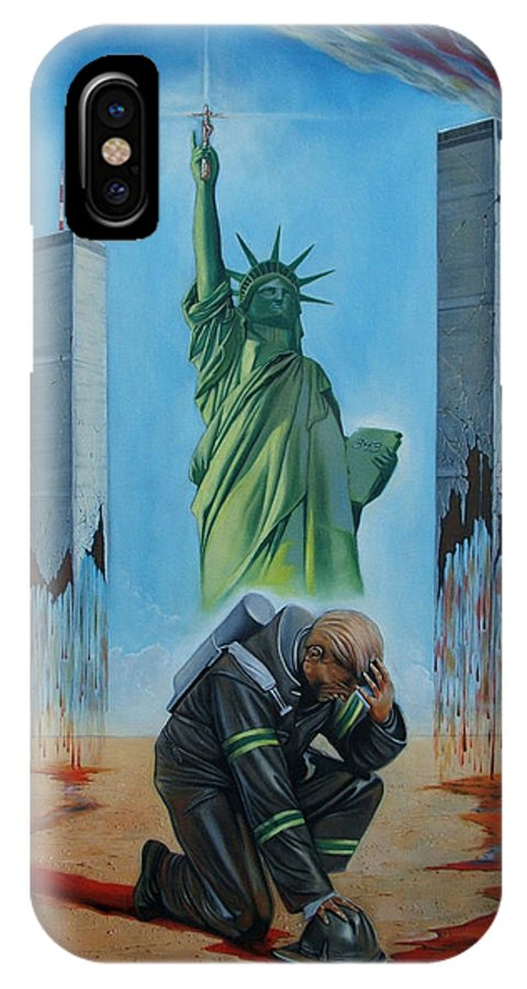 Surrealism IPhone X Case featuring the painting The Pain Holder II by Darwin Leon
