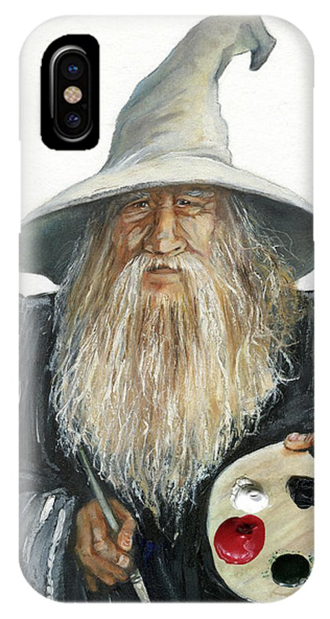 Wizard IPhone X Case featuring the painting The Painting Wizard by J W Baker