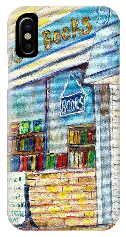 Book Store IPhone X Case featuring the painting The Paperbacks Plus Book Store St Paul Minnesota by Carole Spandau