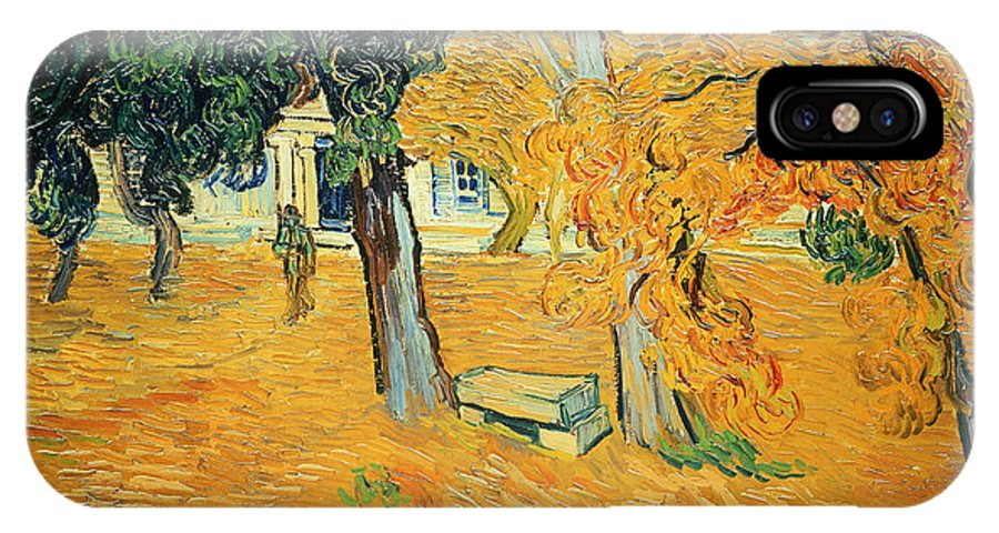 The IPhone X Case featuring the painting The Park At Saint Pauls Hospital Saint Remy by Vincent van Gogh