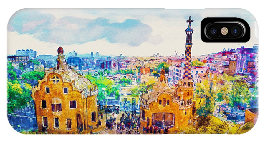0c2539fdc75 Park Guell IPhone X Case featuring the painting Park Guell Barcelona by  Marian Voicu