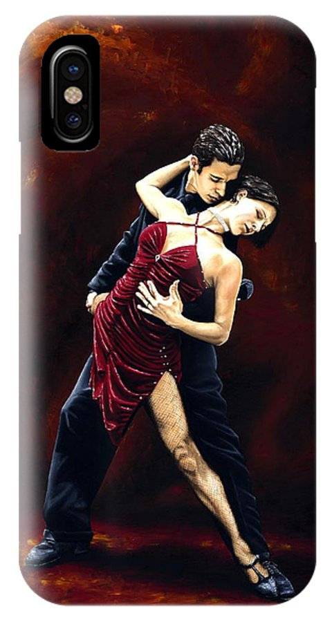 Tango IPhone X Case featuring the painting The Passion of Tango by Richard Young
