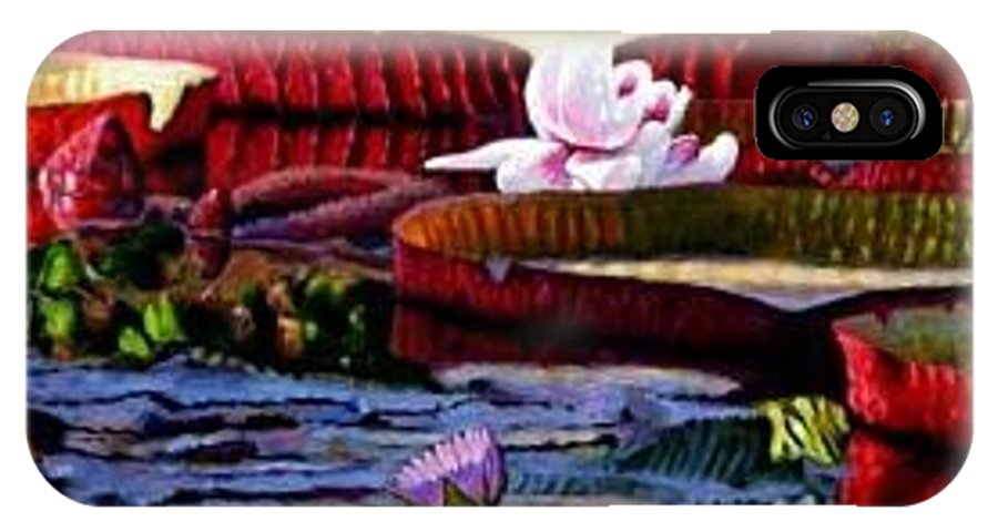 Shadows And Sunlight Across Water Lilies. IPhone X Case featuring the painting The Patterns Of Beauty by John Lautermilch