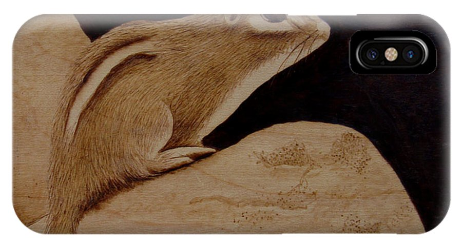 Pyrography; Woodburning; Sepia; Chipmunk; Rock; IPhone X Case featuring the pyrography The Pause by Jo Schwartz