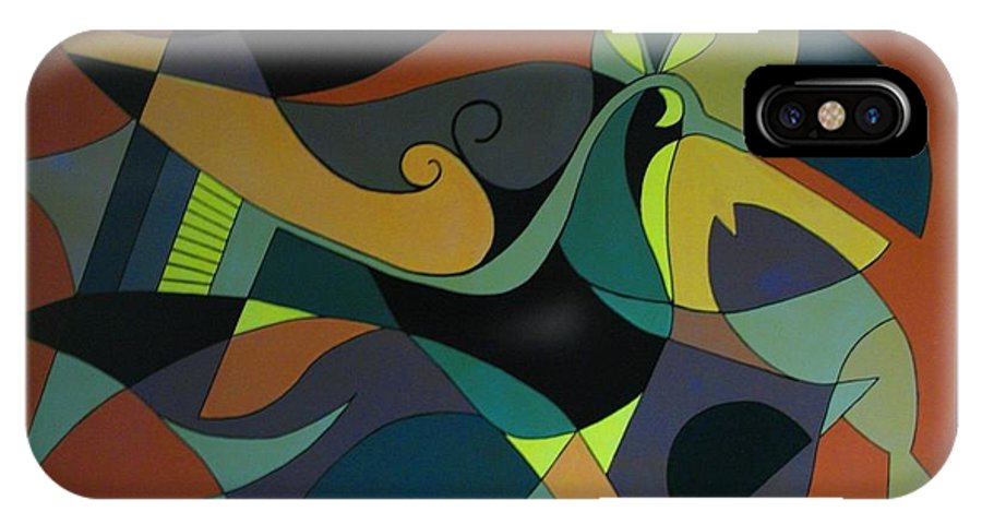 Abstract IPhone X / XS Case featuring the painting The Peacock by Vasilis Bottas