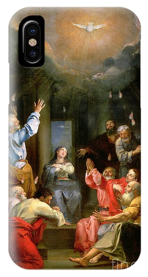 The Pentecost (oil On Canvas) Dove; Prayer; Adoration; Wonder; Virgin Mary; Madonna; La Pentecote; Faith IPhone X Case featuring the painting The Pentecost by Louis Galloche