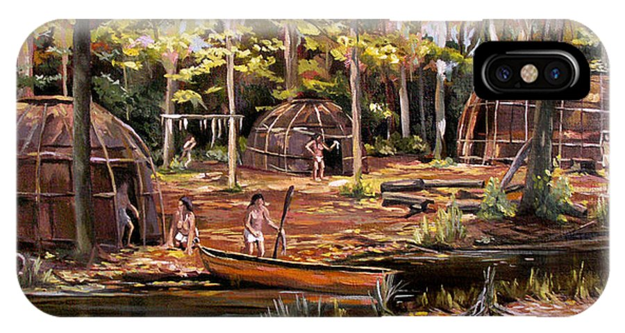 Institute Of American Indian IPhone X Case featuring the painting The Pequots by Nancy Griswold