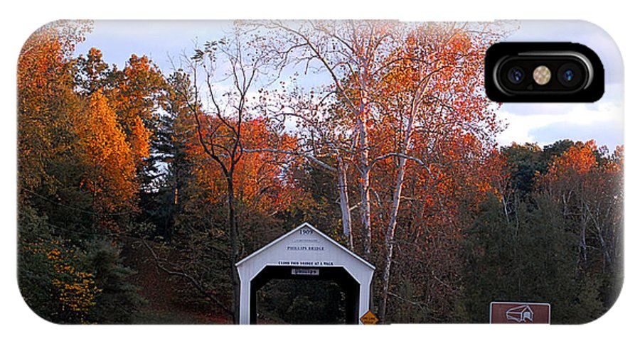 Landscape IPhone X Case featuring the photograph The Phillips Covered Bridge by John McAllister