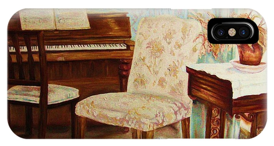 Iimpressionism IPhone X Case featuring the painting The Piano Room by Carole Spandau