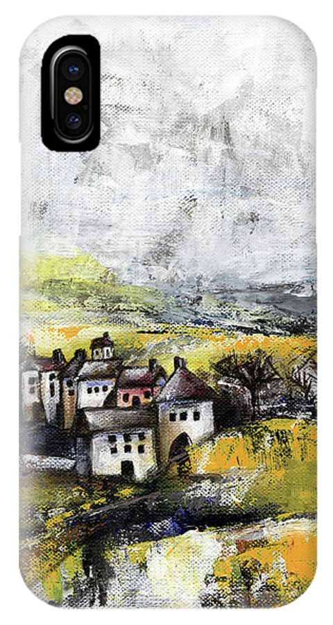Landscape IPhone X Case featuring the painting The Pink House by Aniko Hencz