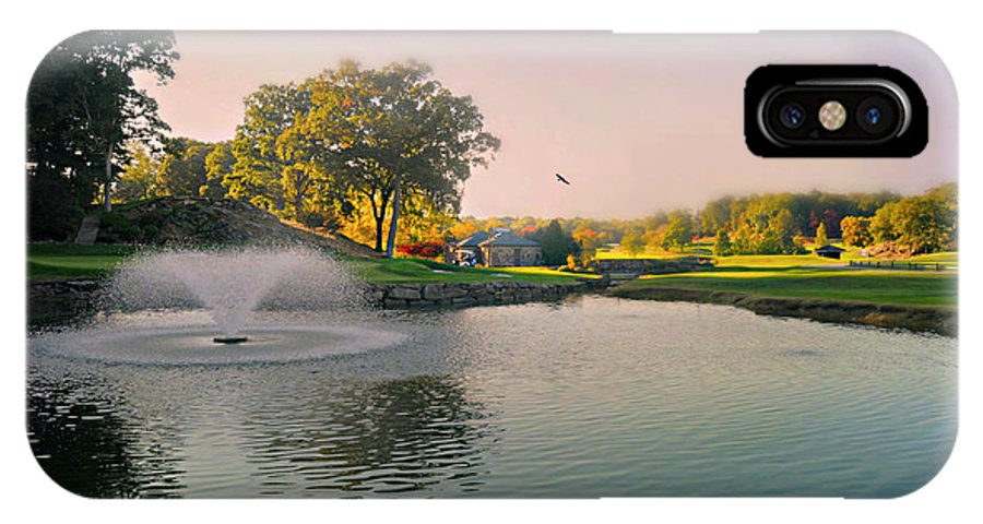 Westchester Country Club IPhone X Case featuring the photograph The Pond Fountain by Diana Angstadt
