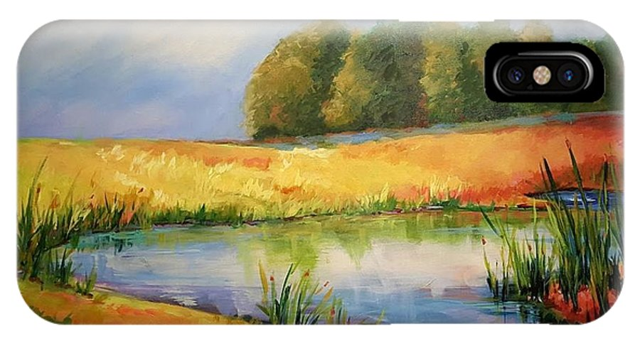 Ponds IPhone X Case featuring the painting The Pond by Ginger Concepcion