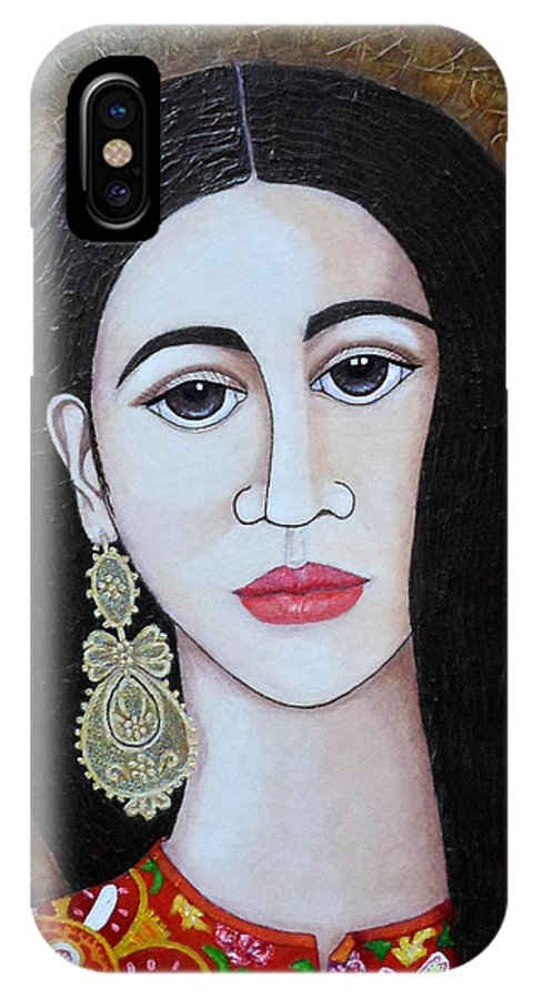 Woman IPhone X Case featuring the painting The Portuguese Earring 2 by Madalena Lobao-Tello