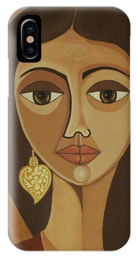 Portuguese IPhone Case featuring the painting The Portuguese Earring by Madalena Lobao-Tello