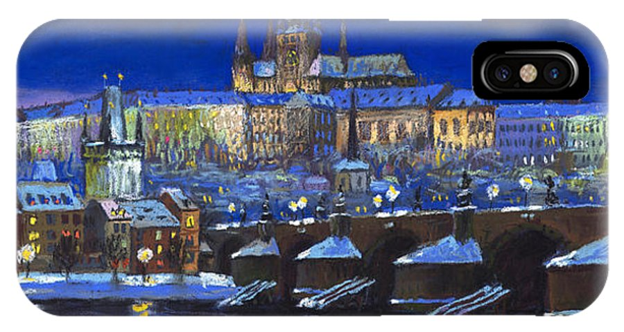 Prague IPhone X Case featuring the painting The Prague Panorama by Yuriy Shevchuk