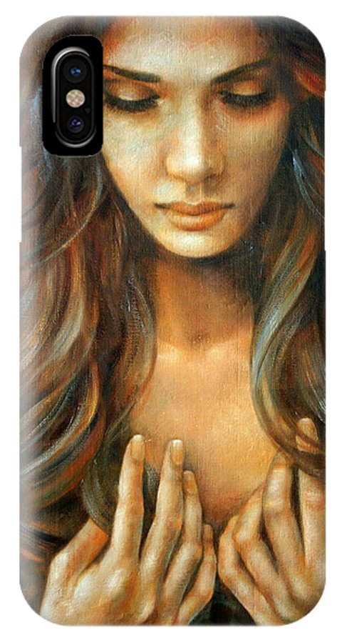 Nude Prints IPhone X Case featuring the painting The Prayer by Arthur Braginsky