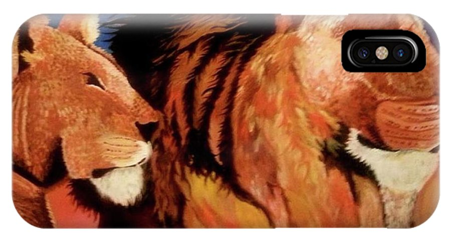 Lions In The Pride IPhone X Case featuring the painting The Pride by Charis Kelley