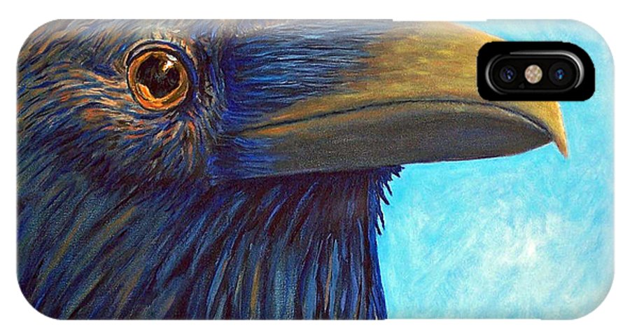 Raven IPhone X Case featuring the painting The Prophet by Brian Commerford
