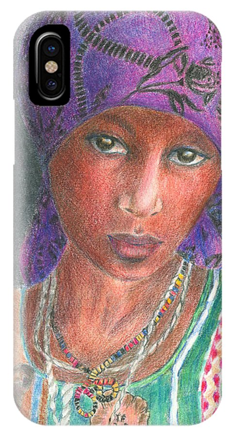 Purple IPhone Case featuring the drawing The Purple Scarf by Arline Wagner