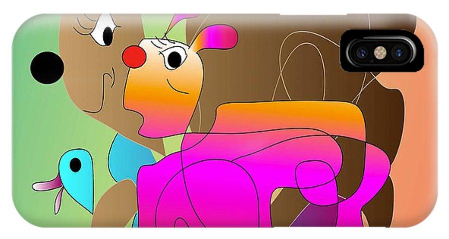 Comic IPhone X Case featuring the digital art The Race 2 by Iris Gelbart