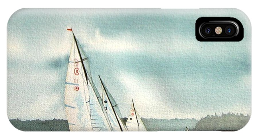 Sailing IPhone X Case featuring the painting The Race by Gale Cochran-Smith