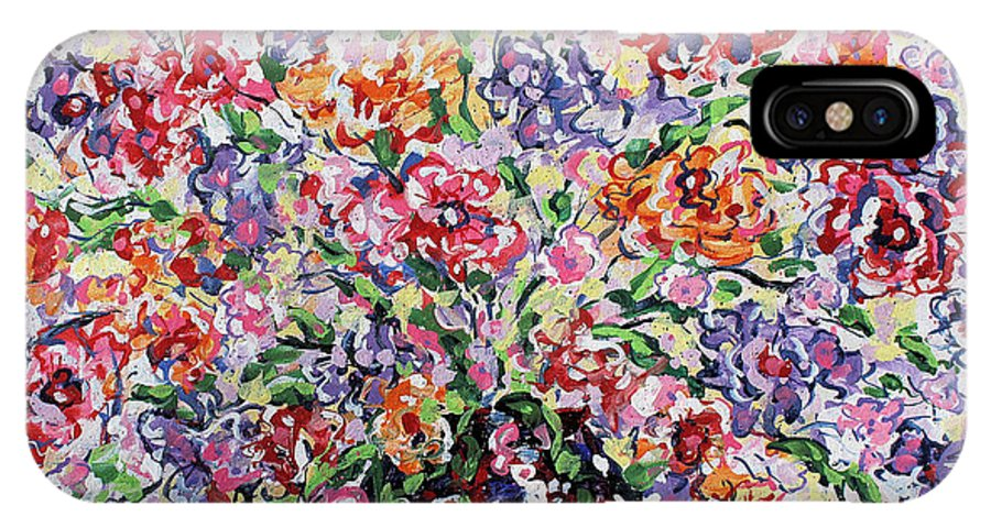 Flowers IPhone X Case featuring the painting The Rainbow Flowers by Leonard Holland