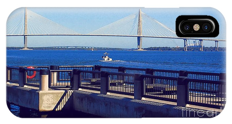 Bridge IPhone X / XS Case featuring the photograph The Ravenel Bridge by Donna Bentley