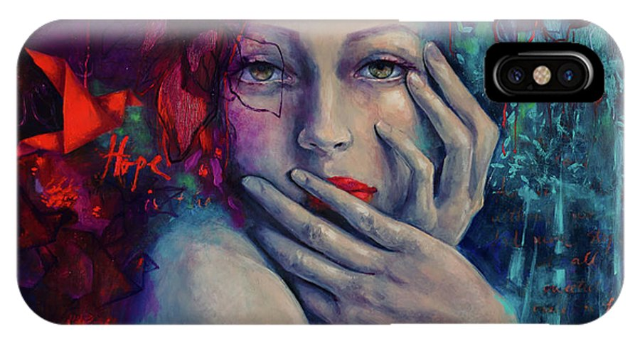 Figurative IPhone X Case featuring the painting The Red Bird by Dorina Costras