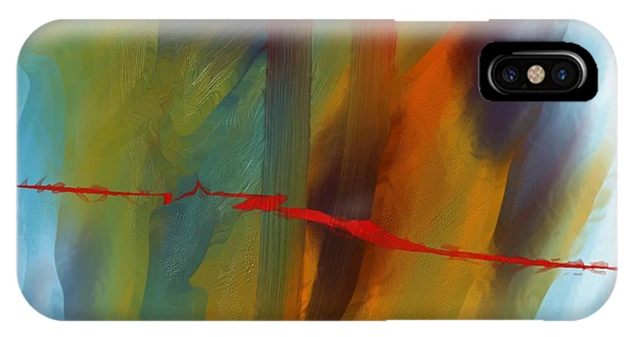 Red Abstract Lines Soft Moves Air Water IPhone X Case featuring the digital art The Red Line by Veronica Jackson