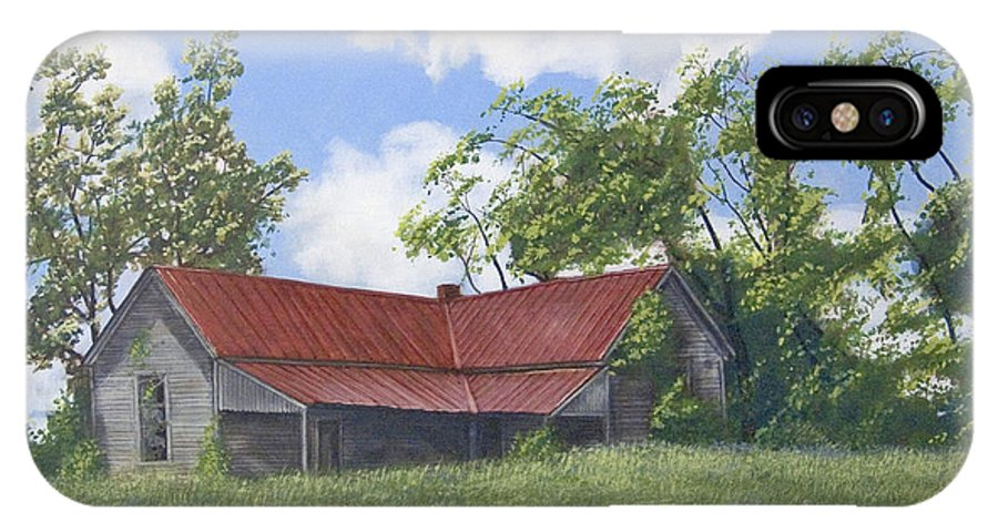 Landscape IPhone X Case featuring the painting The Red Roof by Peter Muzyka