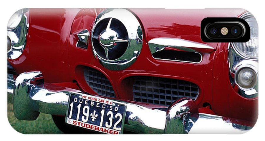 Car IPhone X Case featuring the photograph The Red Studabaker by Carl Purcell