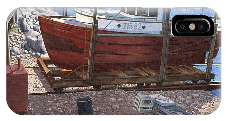 Fishing Boat IPhone X Case featuring the painting The red troller by Gary Giacomelli
