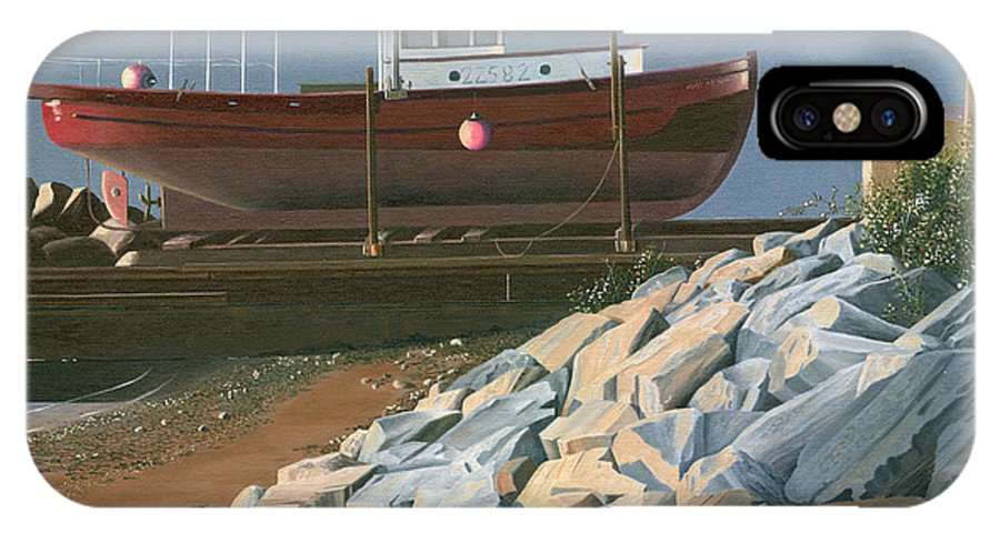 Ship IPhone X Case featuring the painting The Red Troller Revisited by Gary Giacomelli