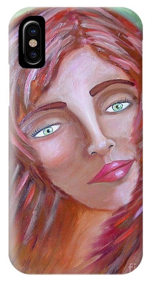 Redheads IPhone X Case featuring the painting The Redhead by Laurie Morgan