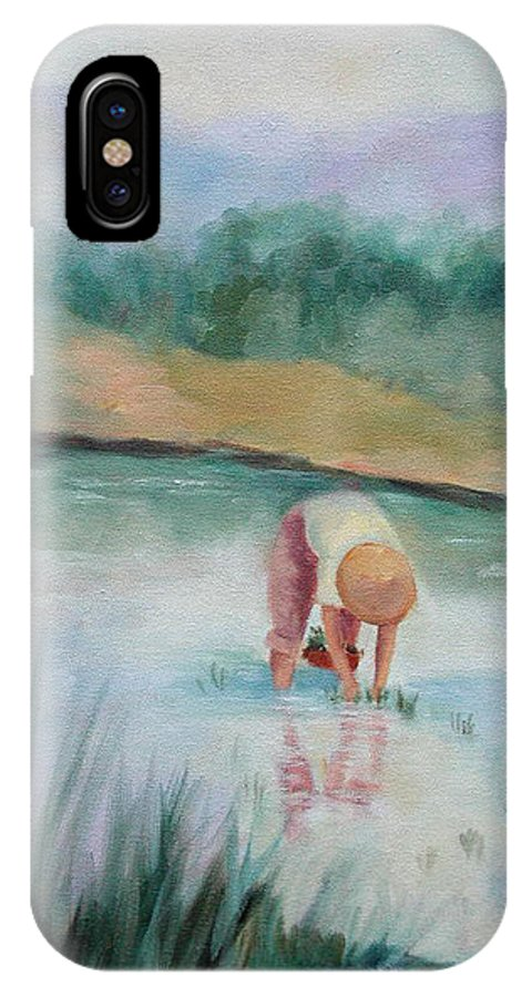 Figurative IPhone X Case featuring the painting The Rice Planter by Ginger Concepcion