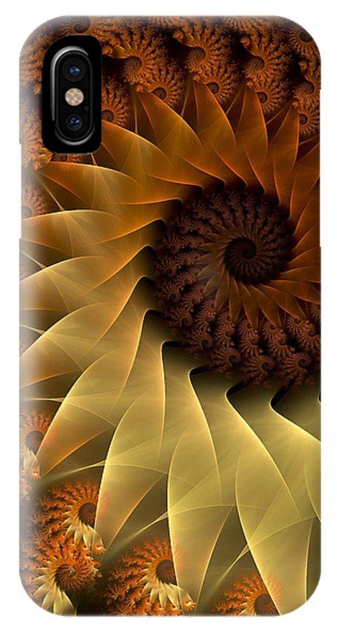 Fractal IPhone X Case featuring the digital art The Rising Sun by Amorina Ashton