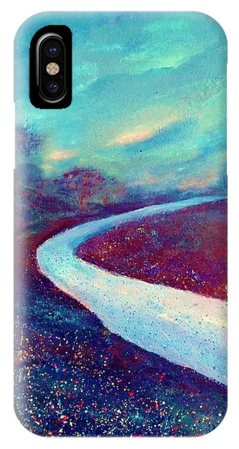 Landscape IPhone X Case featuring the painting The Road - New Beginnings by Robin Monroe