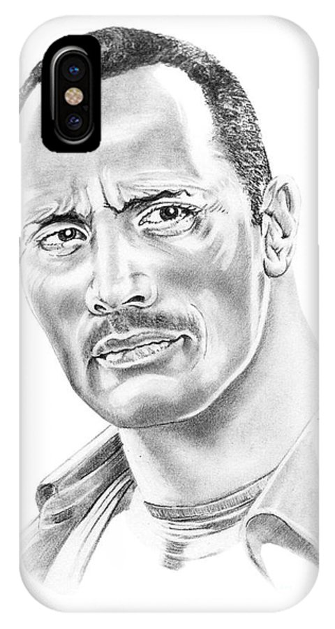 Pencil IPhone X Case featuring the drawing The Roc  Dwain Johnson by Murphy Elliott
