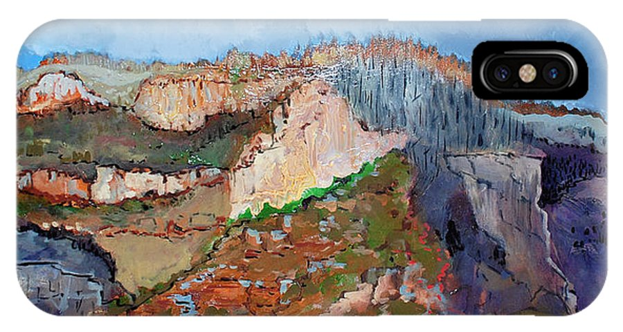 Mountains IPhone X Case featuring the painting The Rockies by Kurt Hausmann