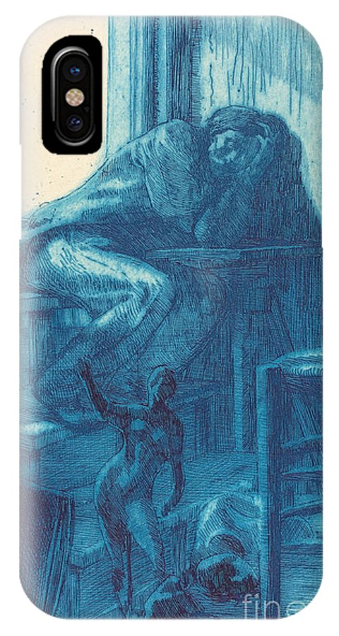 IPhone X Case featuring the drawing The Roman Studio (l'atelier De Rome) by Albert Besnard