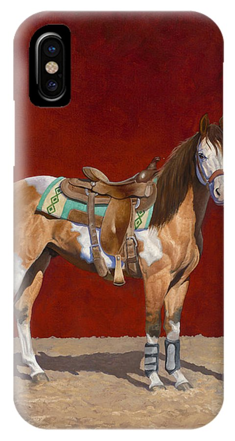 Equine Art IPhone X Case featuring the painting The Rookie by Howard Dubois